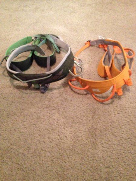Black Diamond Focus Harness XL Green<br> Petzl Hirundos Harness L Orange