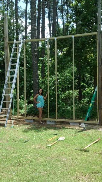 Section 1: flat vertical wall. Start of a 12 ft Backyard Home Boulder Wall.