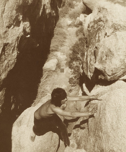Rock Climbing Photo: Keef pulling down in JT, 1969