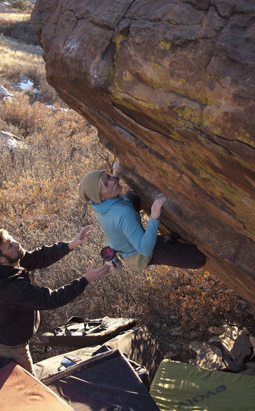 Rock Climbing Photo: On a sunny plateau... v4 maybe.