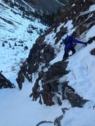 Rock Climbing Photo: Scrambling into the gully on the approach.