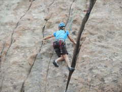 Rock Climbing Photo: On the mixed-gear variation of Route #6.
