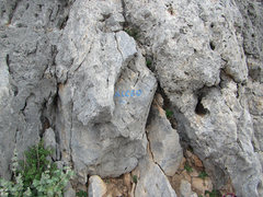 Rock Climbing Photo: The name of the route is written at the base.