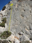 Rock Climbing Photo: The route is the first bolted line on the far left...