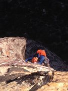 Rock Climbing Photo: Pat Henner follows the classic last pitch of of Ca...