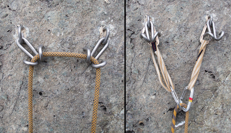 New Titanium Ram's Horns anchors are installed on all routes. They are quick, easy, and strong (30kN together).<br> <br> Please, as always, reduce wear and tear and top rope off of your personal gear. It is easy for the last person to loop some slack through both anchors, clean the draws, and lower, in under 30 seconds without ever going off belay.