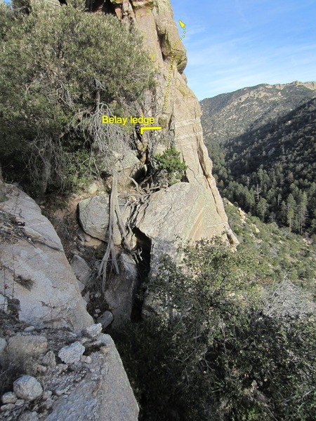 The belay balcony on the left side of the wall