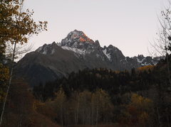 Rock Climbing Photo: Last evening light on Sneffels as I push my bike u...