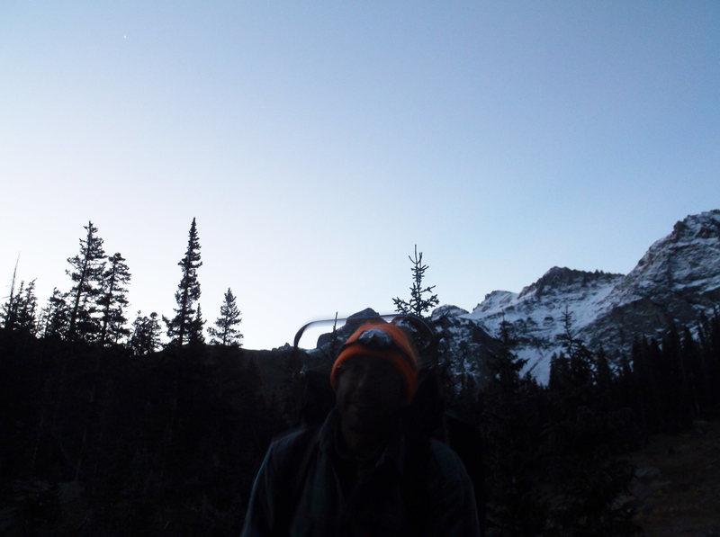 pre-dawn glow, nearing Lower Blue Lake