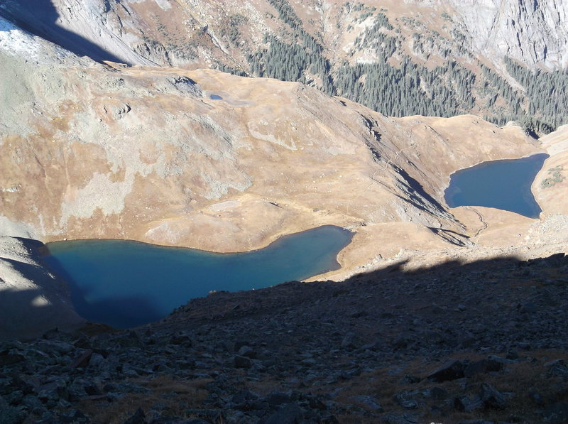 Rock Climbing Photo: seen from Blue Lakes Pass, Upper Blue Lake emerges...