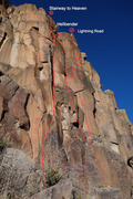 Rock Climbing Photo: Overview showing Stairway to Heaven, Hellbender, a...