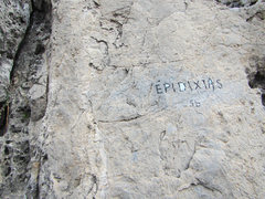 Rock Climbing Photo: Route name painted at base.