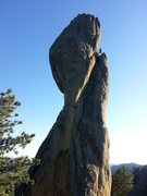 Rock Climbing Photo: Cleaning anchors at the top of the original route....