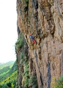 Rock Climbing Photo: First Ascensionist jumps on for the hell of it