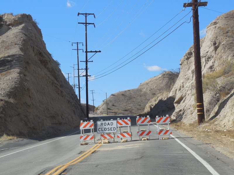 Vasquez Canyon Road closed due to a landslide in November 2015.