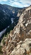 Rock Climbing Photo: From top of Voices Carry, climbers on the Bitty Bu...