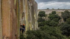 Rock Climbing Photo: Robbie on the layback crack before the pinnacle re...
