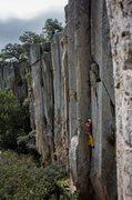 Rock Climbing Photo: Daniel on the fingery crux below.