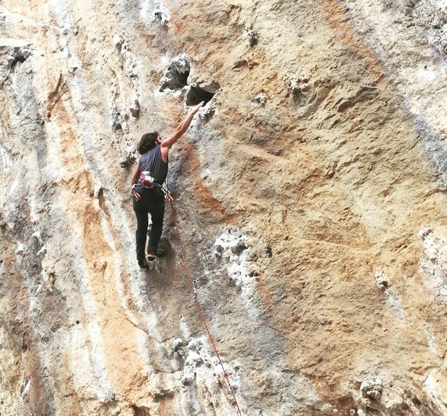 Rock Climbing Photo: Throwing for a jug in Kalymnos