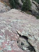 Rock Climbing Photo: Looking down from the hollow flake that could be u...