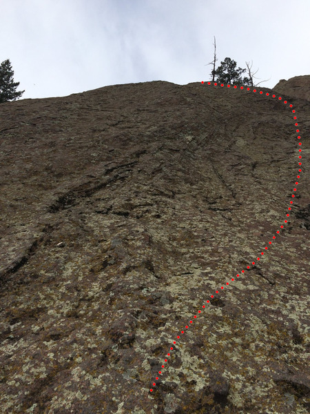 Looking up the final steeper section. Good stances where everywhere until the final 30 feet or so. Right seemed to be the easiest way. The lichen and fragile flakes made this section a bit more thoughtful than it would have been if the rock was clean.