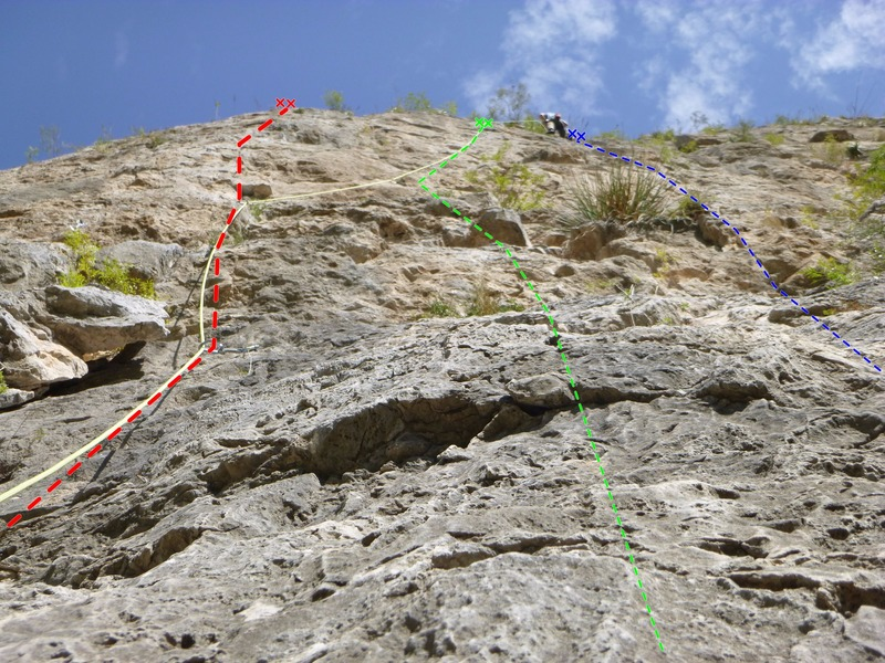 Climbs from left to right:<br> Fat Boy Slim 11b (red), Motavation 11a (green), & Motavision 10d (blue).<br> <br> As you can see from the picture, I struggled to identify climbs in this section of the wall.  Hope the next party can find them a little easier now.  All three are quality routes nonetheless.