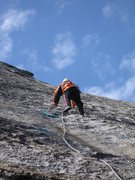 Rock Climbing Photo: Sascha Madrid leading the money pitch on Boltway