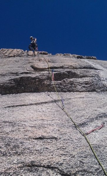 Just beyond the crux on Moonlight Madness