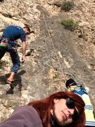 "Rock Climbing Photo: Lowering Jonny off of ""Merci Augusto""(6c..."