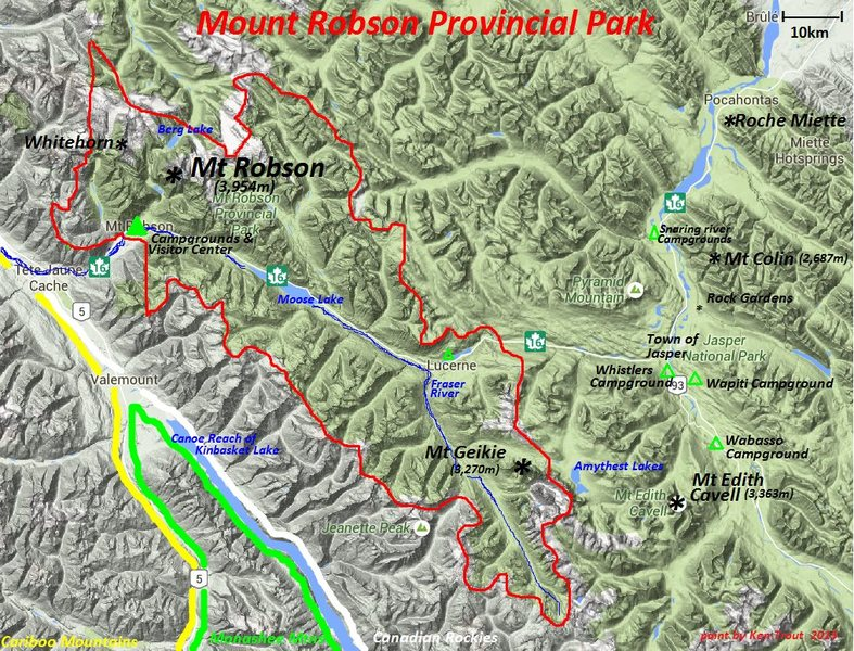 Mt Robson Provincial Park<br> boundary in red