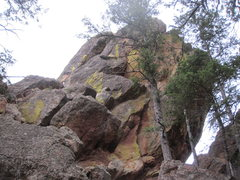 Rock Climbing Photo: North face of East Sentinel. Chimney/ramp inset in...