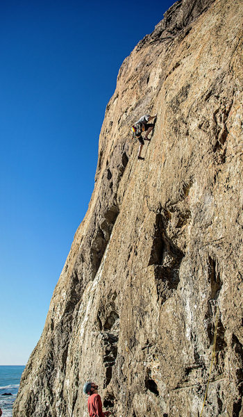 Ben Flores climbing Ahab Slab on the new bolts.