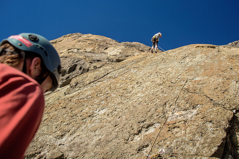 Rock Climbing Photo: Good view of the crux of Ahab Slab, around the fou...