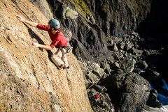 Rock Climbing Photo: Finishing up the first lead of Ahab Slab on the ne...
