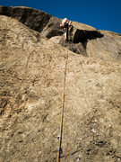 Rock Climbing Photo: Ben pulling over the bulge at the 5th bolt.