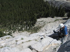 Rock Climbing Photo: Tom Rogers on Crescent Ledge, Regular Route Fairvi...