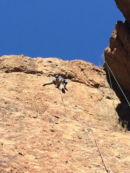 "Nearing the upper crux on ""B-Line."""