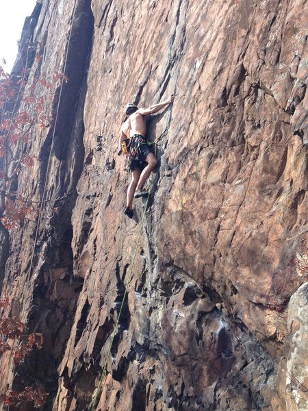 Rock Climbing Photo: At a good stance for placing 2nd piece; in this ca...