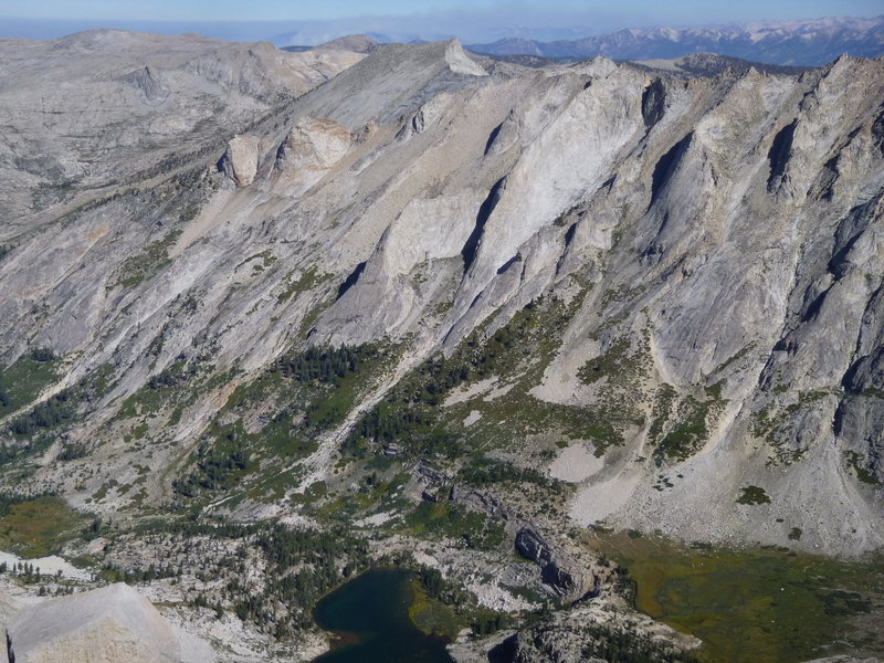 Prism - center (just left)<br> Saber Ridge - center (just right and up) <br> <br> Tamarack Lake<br> <br> As seen from the summit of Mt Stewart