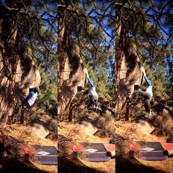 Rock Climbing Photo: The Ground Chuck V4/5. The Snail Trail boulder.