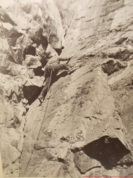 Hugh Neave climbs The Bell Ringer @ Sugar Loaf near Kamloops<br> <br> by Barb Hargreaves, CAJ 1978<br>