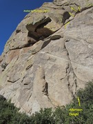 Rock Climbing Photo: Afternoon Delight crack to 3 variations. (I rap'd ...