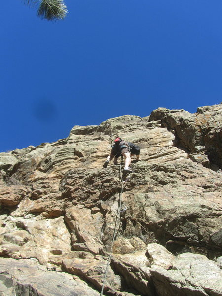 Greg finishing the first crux at the rotten band.