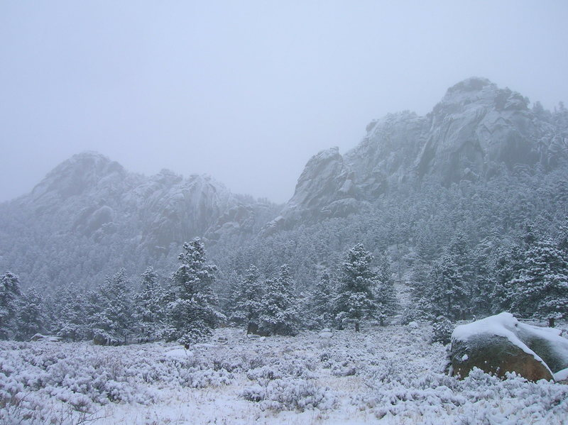 Rock Climbing Photo: A different look with snow and cooler temperatures...