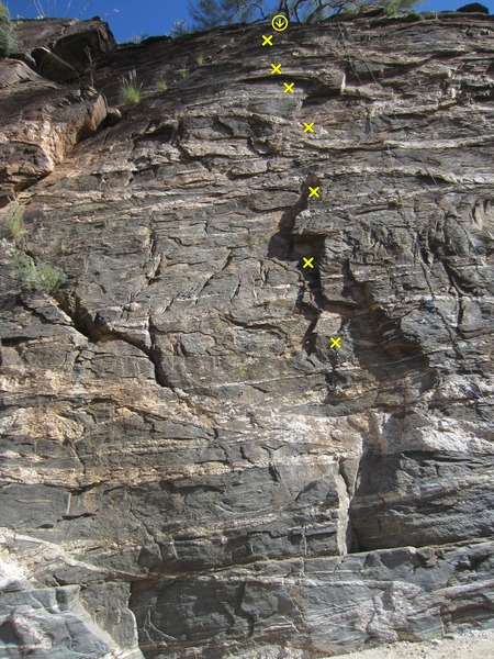 Rock Climbing Photo: Notched Arrow in yellow. Rope on Ents Degree.