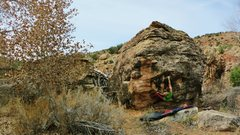 Rock Climbing Photo: Sticking the first move to the great hueco on East...