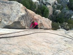 Rock Climbing Photo: 8 year old Jocelyn beginning the lie back section ...