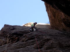 Rock Climbing Photo: Me finishing up the first pitch of Crack Parallel