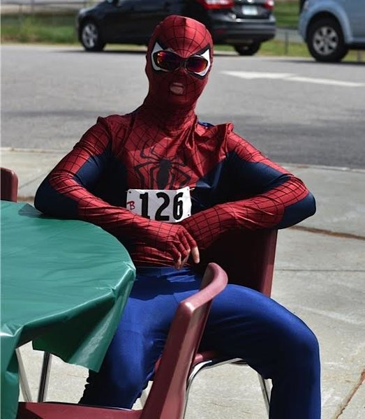 "Me about to compete in a 21 mile Triathlon, ""The Contoocook Carry"" dressed as Spiderman. Came in 5th place."