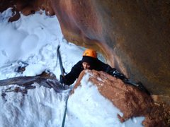short step before final pillar, and only dry tool of the route today, 11/29/15.